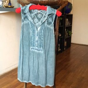 Blue semi distressed tunic tank